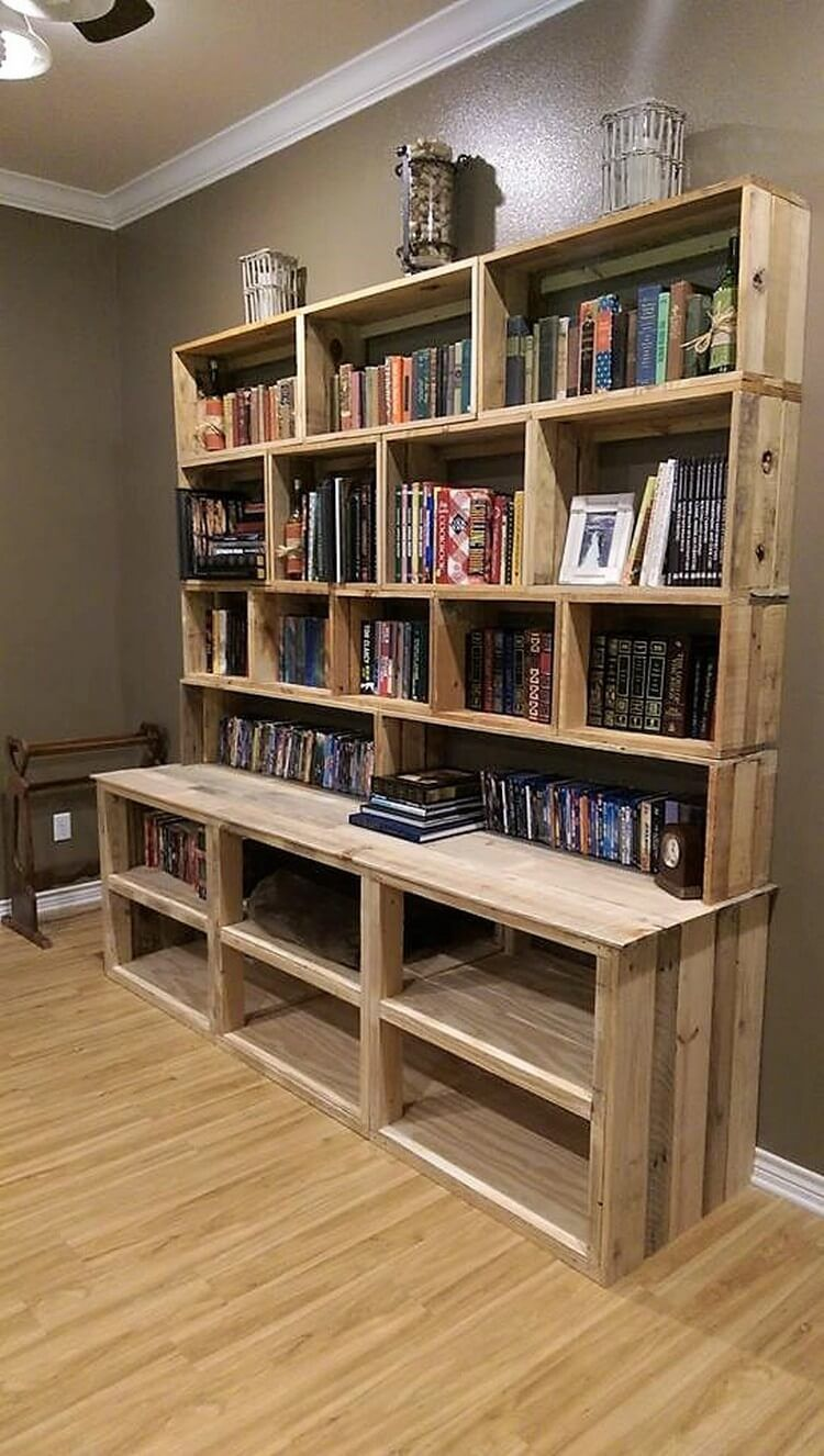 Very Easy DIY Bookshelf Pallet with Plans and Instructions ...