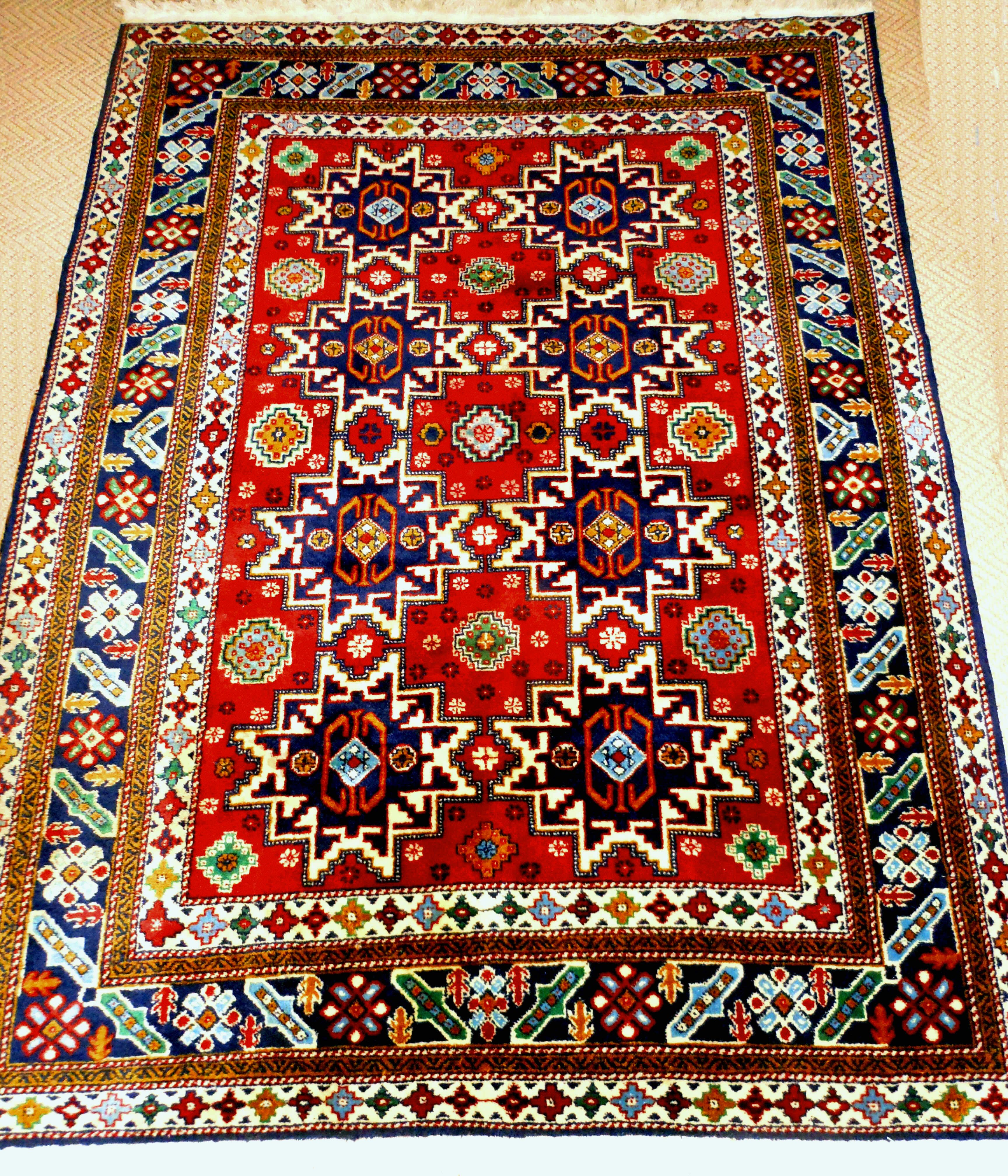 This Is A Stunning Large Lesghi Star Shirvan Vintage House Bohemian Rug Vintage