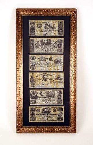 Framed Republic Of Texas Currency Reproduction But With A Dark Wood Frame Instead I Like This Setup Th Frames On Wall Picture Frame Display Dark Wood Frames