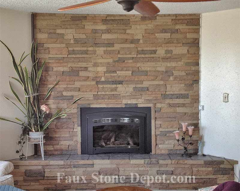 Faux Stacked Stone On A Fireplace Thanks To The Customer S Photos