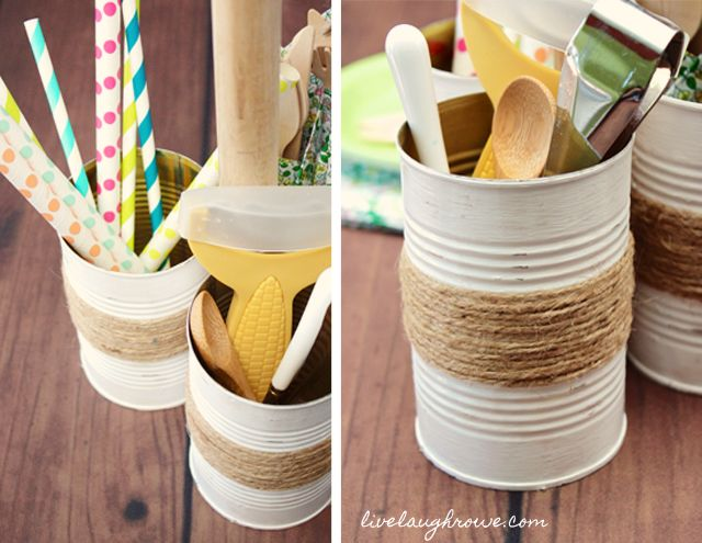 Rustic Twine Wrapped Vase Repurposed Soup Can