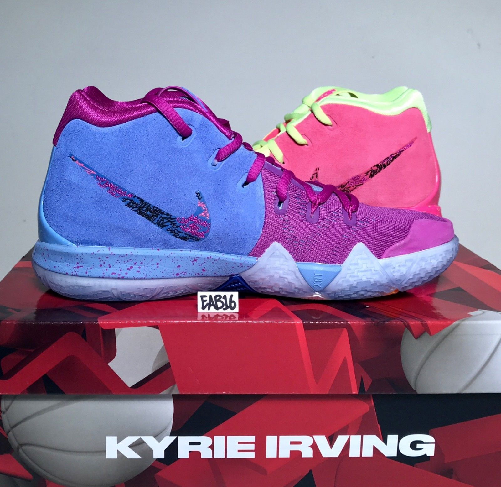 772554b0186a Nike Kyrie Irving 4 IV CONFETTI Purple and Yellow Multi Color Mens GS Kids  Boys