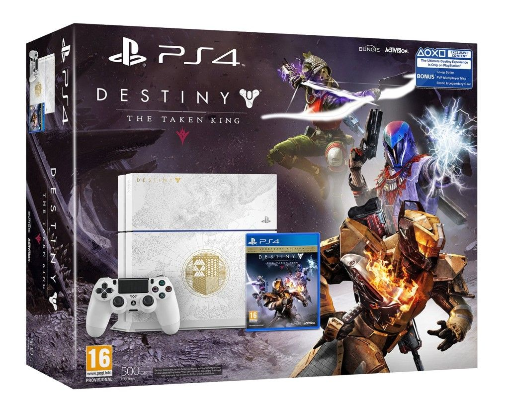 More info: http://pusabase.com/blog/2015/07/09/sony-playstation-4-limited-edition-with-destiny-the-taken-king/ - The Limited Edition Destiny: The Taken King PlayStation 4 Bundle is the complete package for both new and returning Guardians, featuring a custom Destiny inspired console, Destiny: The Taken King -Legendary Edition, and Digital Collector's Edition Upgrade.  The Ultimate Destiny Experience is only on PlayStation.      Destiny: The Taken King in