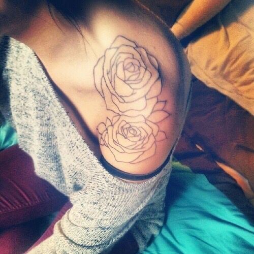 Flower Outline Shoulder Rose Shoulder Tattoo Shoulder Cap Tattoo Tattoos