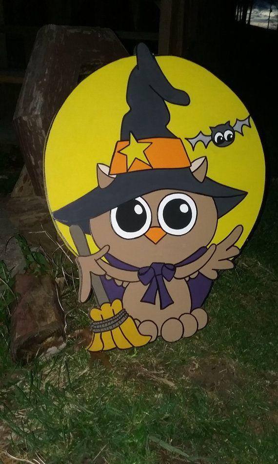 Halloween Owl Yard Art Cutout Decoration by PrimitivePaintings - pinterest halloween yard decor