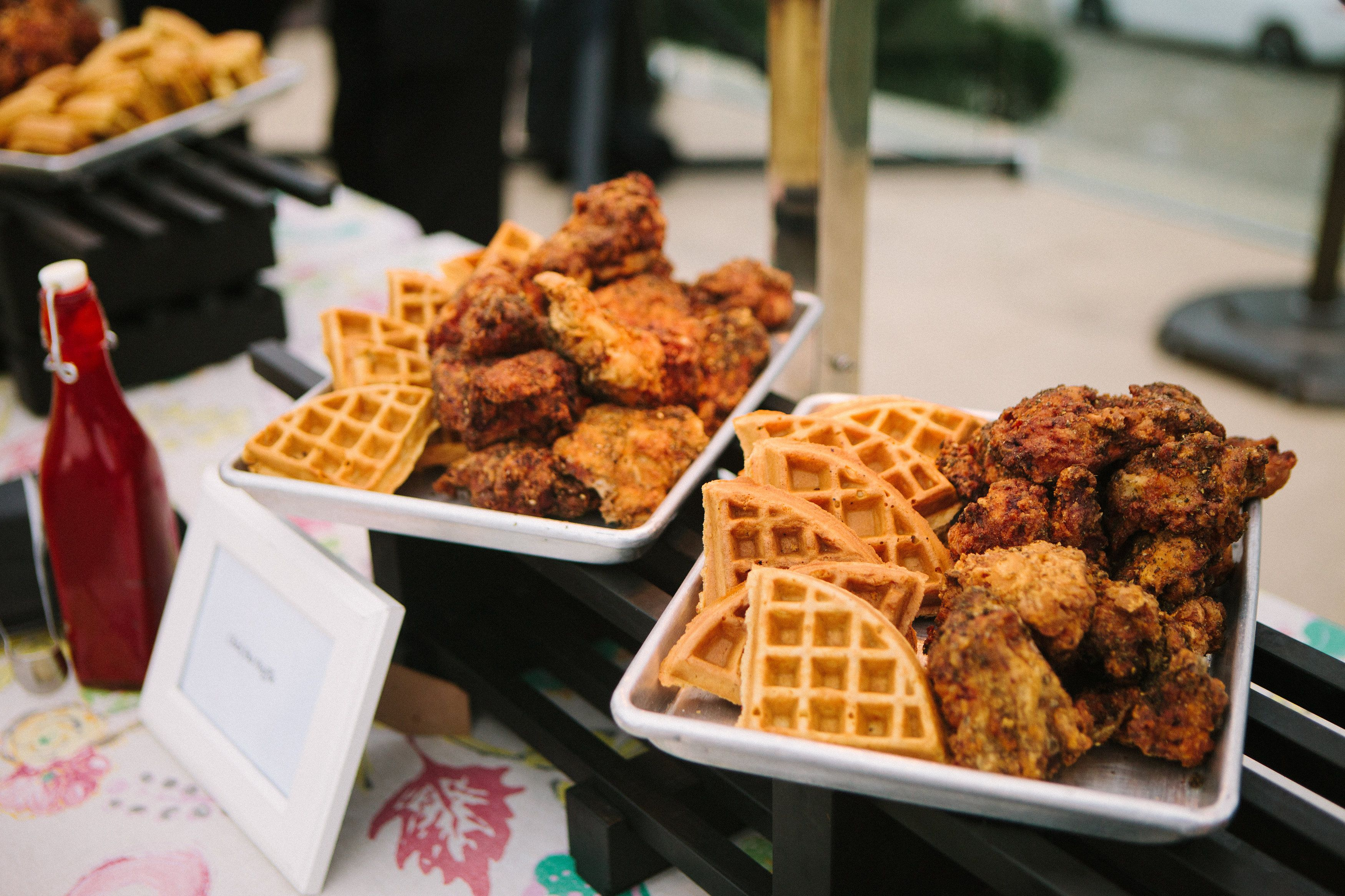 chicken and waffle station at l auberge del mar taste of l