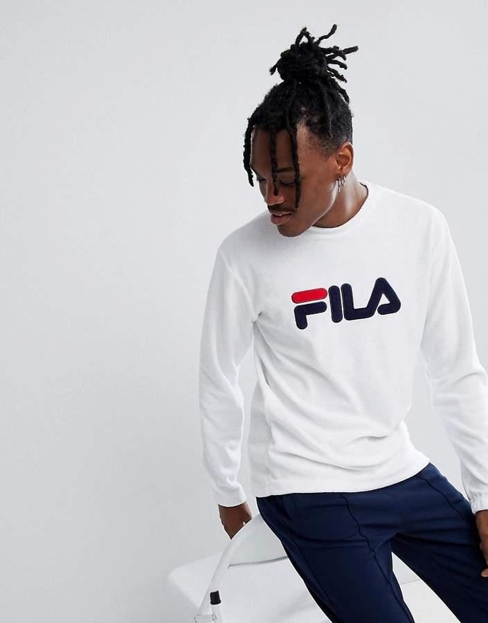 Fila Black Line Terry Towelling Sweatshirt With Logo In