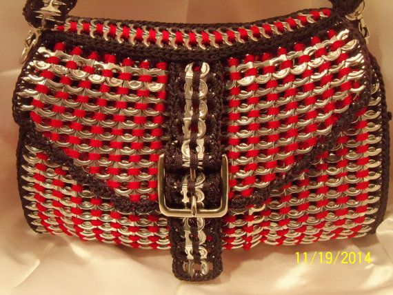 Red with black trim buckle poptabs purse with by PoptabsPurses