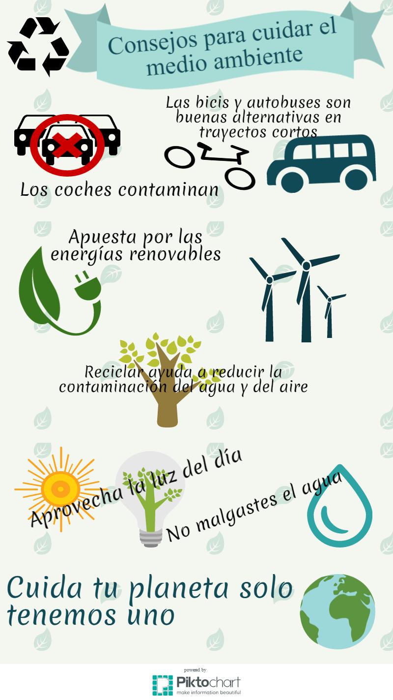 Mi Infografia Sobre Consejos Para Cuidar El Medio Ambiente Realizado Con Piktochart Com Teaching Spanish Spanish Resources Authentic Resources Spanish