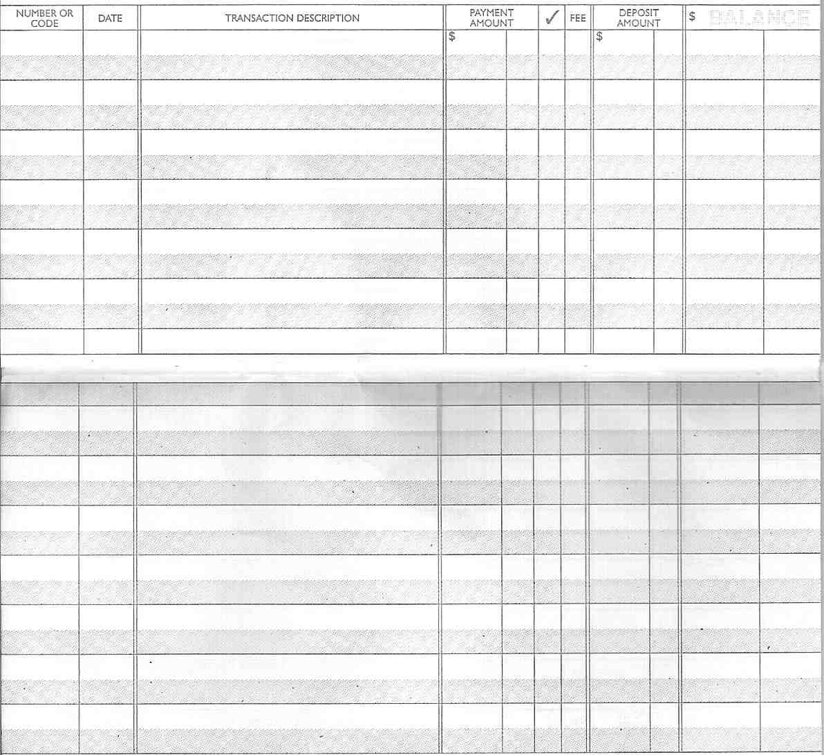 Blank Checkbook Register