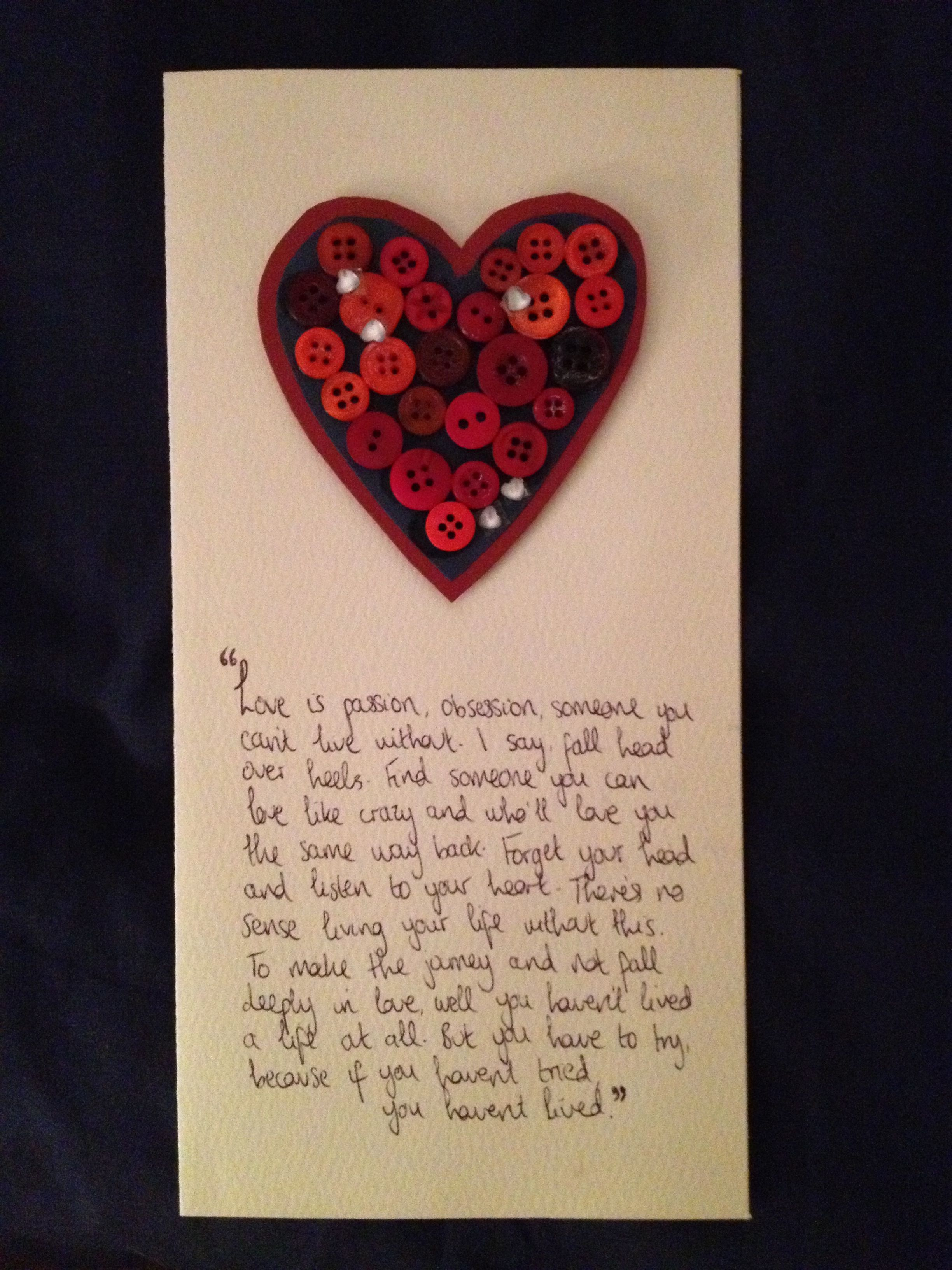 My Girlfriend made this card for me for our 6 Month ...
