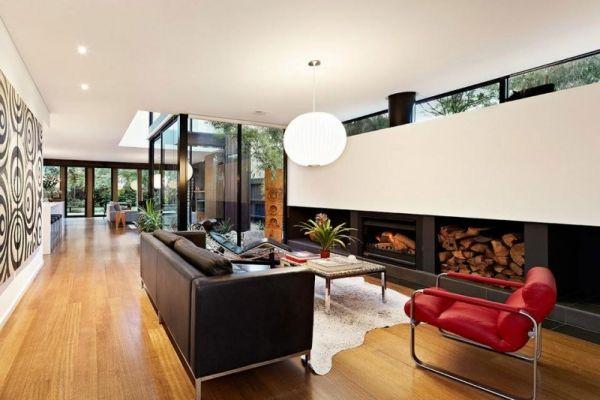 Offener Bauplan Suite Schwarz Weiss Kamin Sessel Rot Architecture
