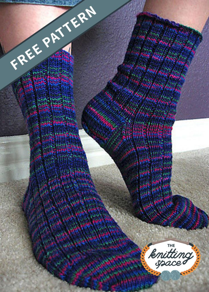 Basic Knitted Ribbed Sock FREE Knitting Pattern in 2020 ...