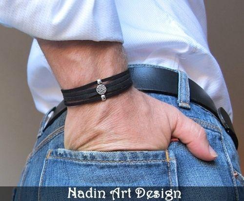 Einstellbares Leder Herrenarmband. Unisex Armband von NadinArtDesign auf DaWanda.com