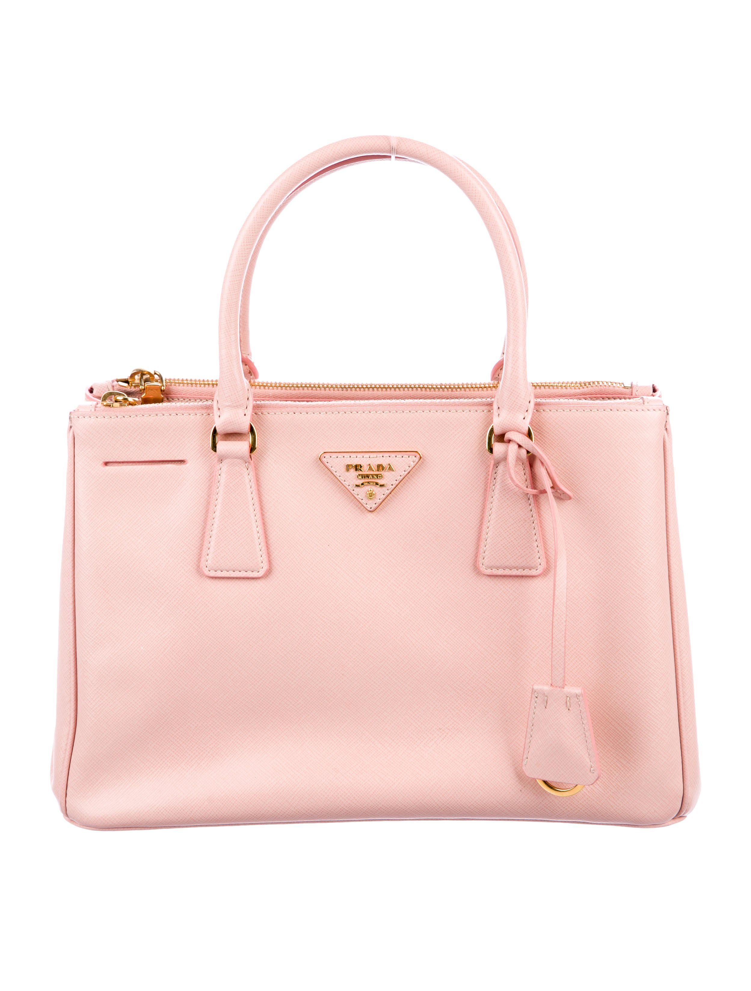 d564fb7d2142c8 Pink Saffiano Lux leather Prada Small Galleria Double-Zip tote with  gold-tone hardware, adjustable flat shoulder strap, dual rolled handles,  triangle logo ...