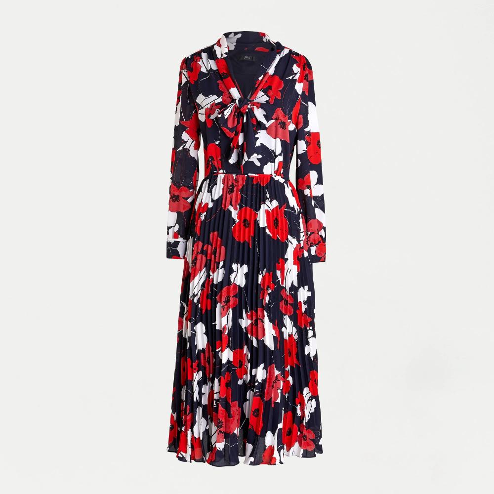 J Crew Tie Neck Pleated A Line Dress In Poppy Print Dresses A Line Dress Georgette Dress