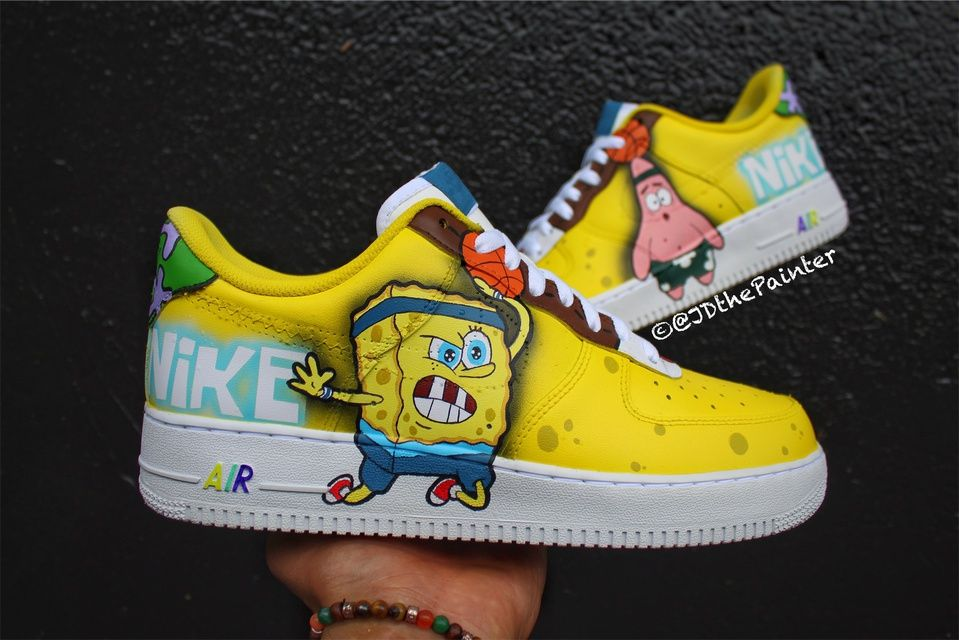 Air Spongebob Nike Air Force 1 | Custom nike shoes, Custom