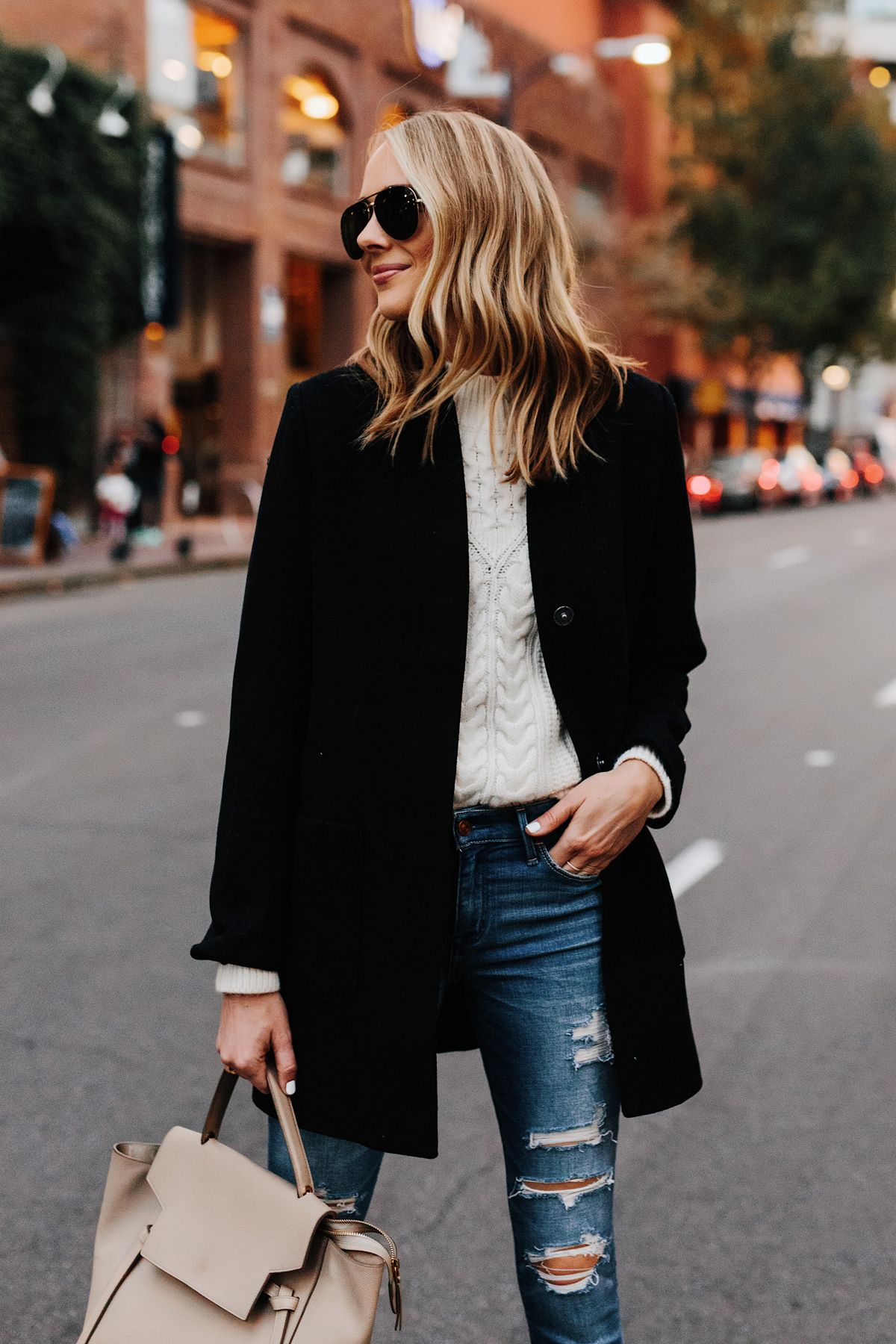 2b9f52e75df Blonde Woman Wearing Abercrombie Black Wool Coat Cable Knit White Sweater  Denim Ripped Skinny Jeans Outfit Fashion Jackson San Diego Fashion Blogger  Street ...