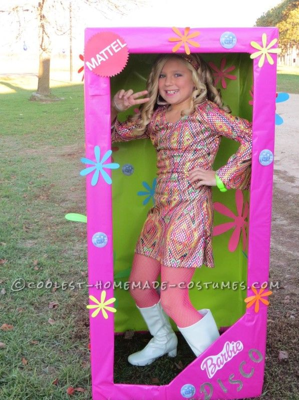 Coolest homemade costume for a girl disco barbie in a box for Homemade halloween costumes for 10 year olds