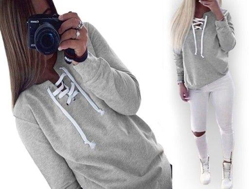 Uniwersalna Bluza Dresowa Sznurowany Dekolt 7026326231 Oficjalne Archiwum Allegro Sweatshirts Fashion Hoodies