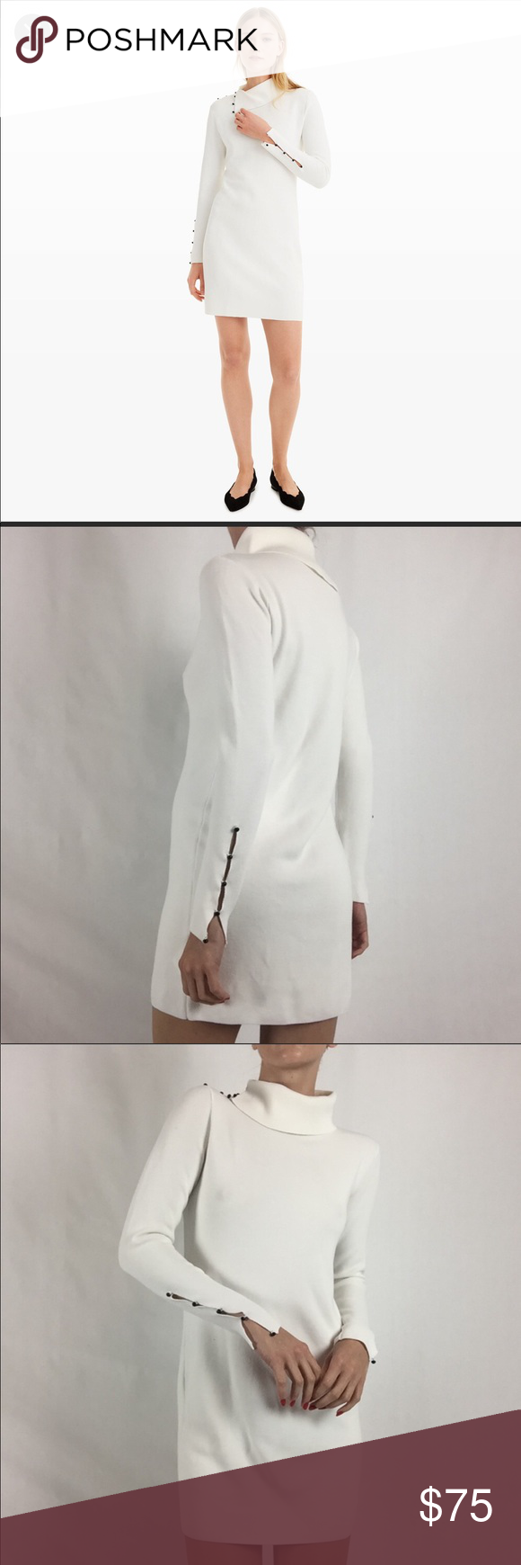 "19d6011017 Club Monaco cowl neck white sweater dress XS Brand new without tag I have  not worn the dress at all Polyester elastane Length 31"" Mid thigh length  I m 5 3"""