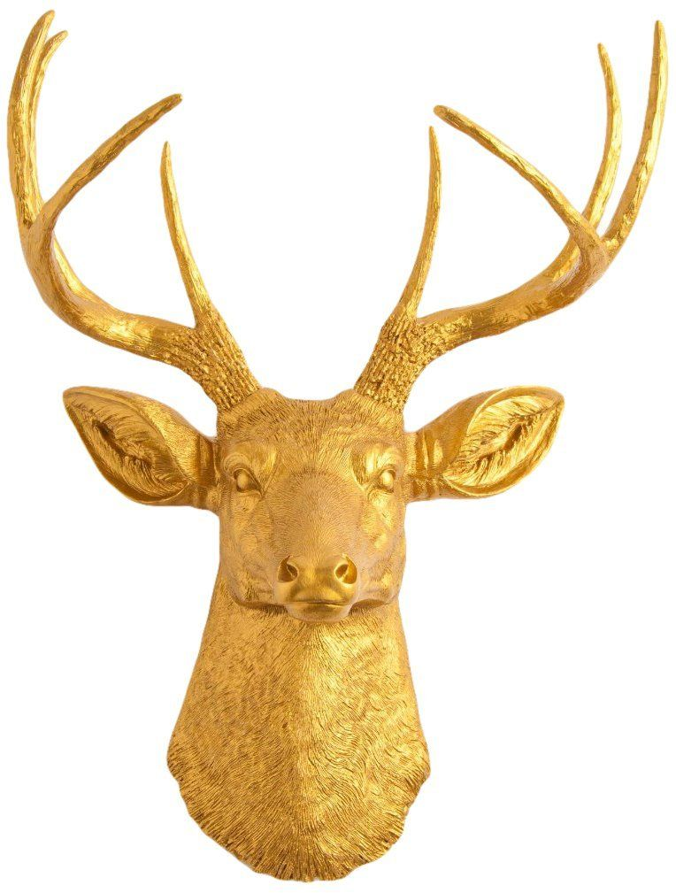 The Franklin | Gold Deer Head Wall Decor | Stag Head Wall Mount ...