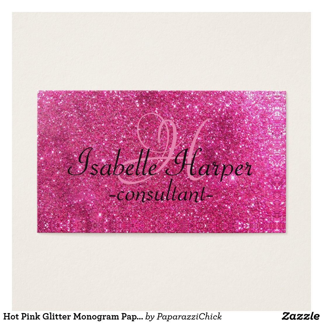 Hot pink glitter monogram paparazzi jewelry and accessories hot pink glitter monogram paparazzi jewelry and accessories consultant business cards to give to customers sparkly bling glittery cards made to be eye colourmoves