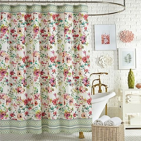 The Elegant Watercolor Garden Shower Curtain From Jessica Simpson