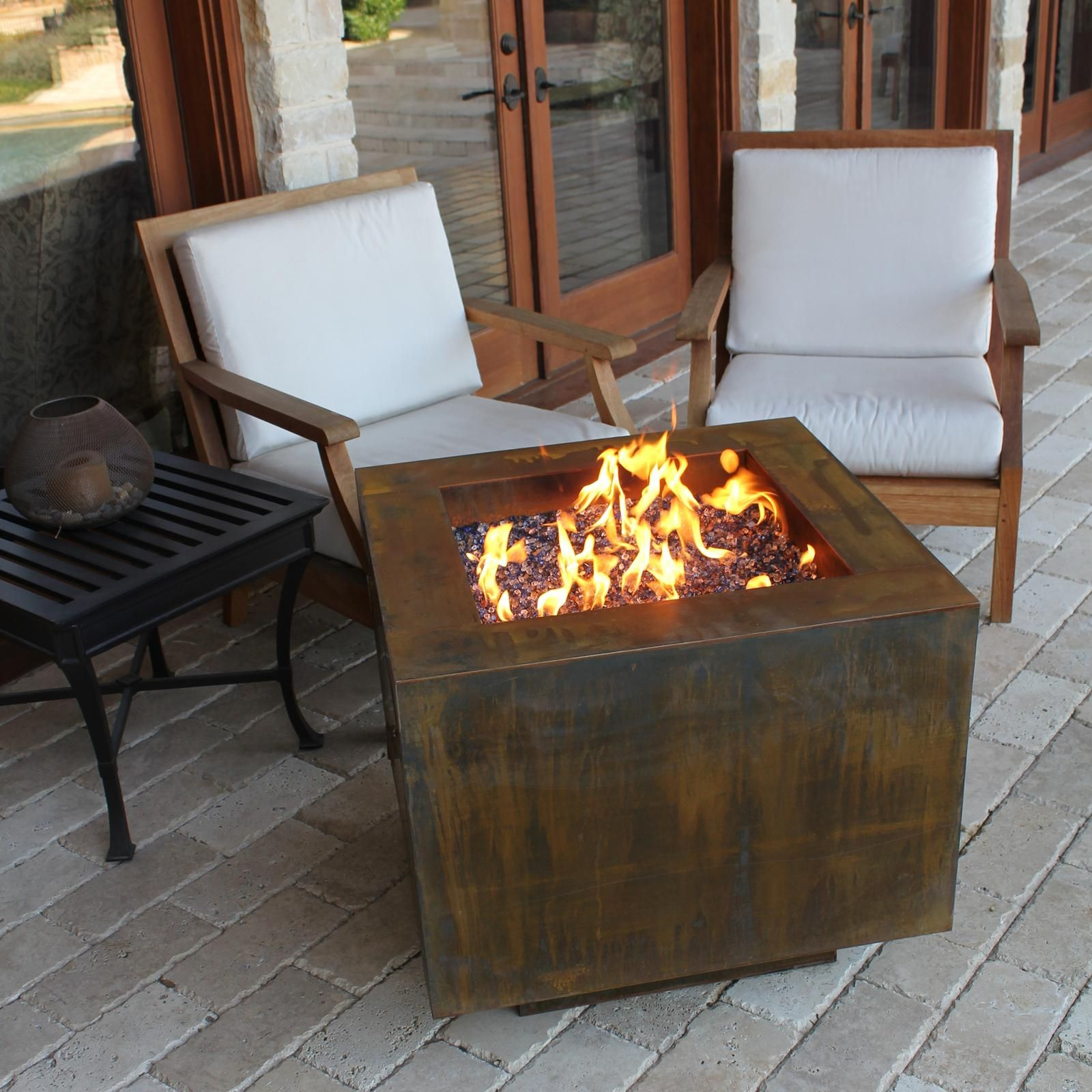 30 Square Cor Ten Steel Fire Pit With Hidden Lp Tank With Images Fire Pit Steel Fire Pit Outdoor Fire