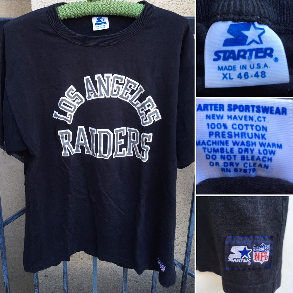 Vintage Los Angeles Raiders Tee Starter Made In Usa Xl 46 48 80s 90s Ebay Vintage Los Angeles Tees T Shirts For Women