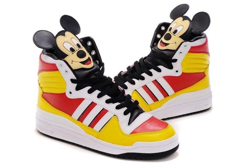 2016 Jeremy Scott adidas Originals JS Mickey Hi Super limited Amarillo rojo  Blanco Negro Zapatos De