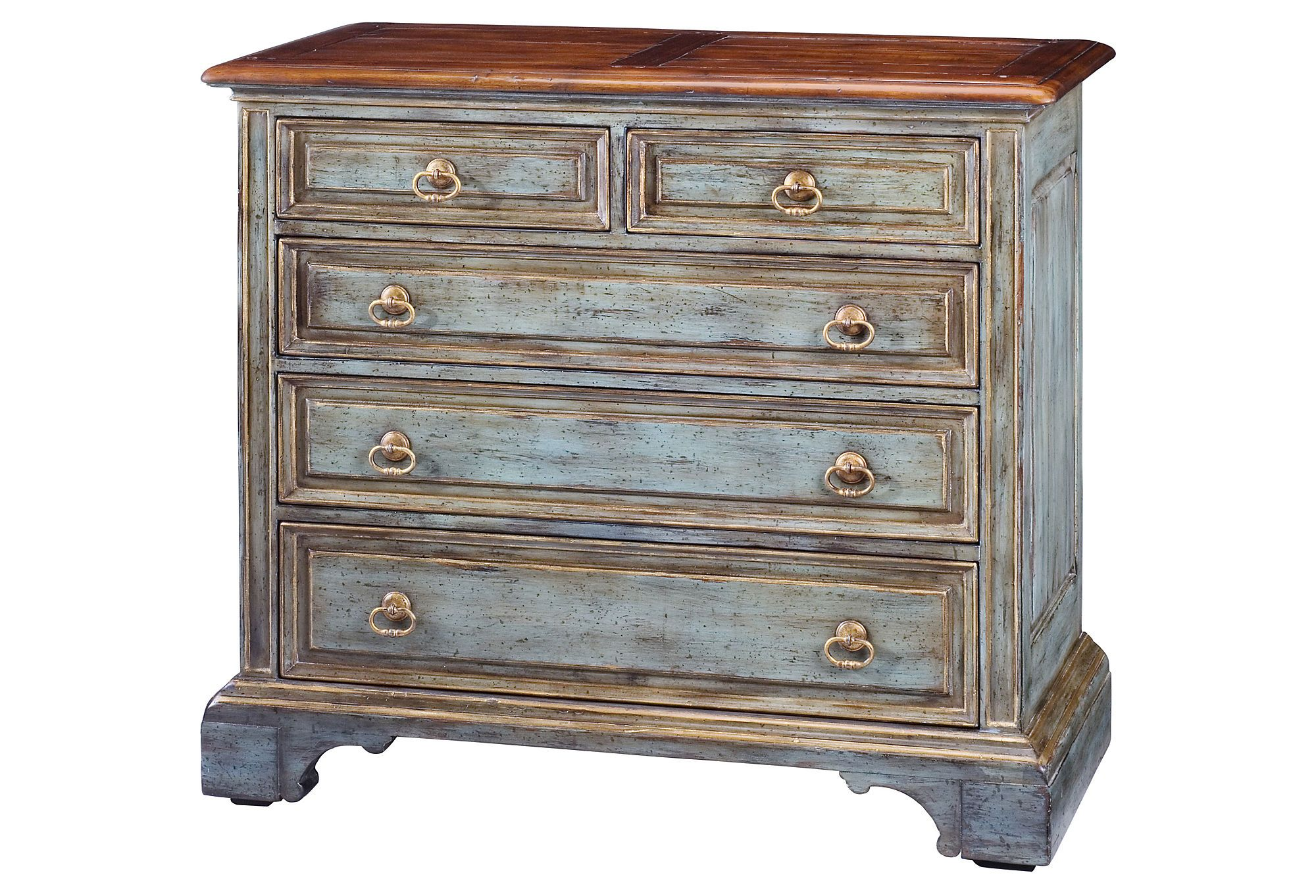 Sarreid Furniture  Chest Of Five Drawers, Blue  $1,279.00