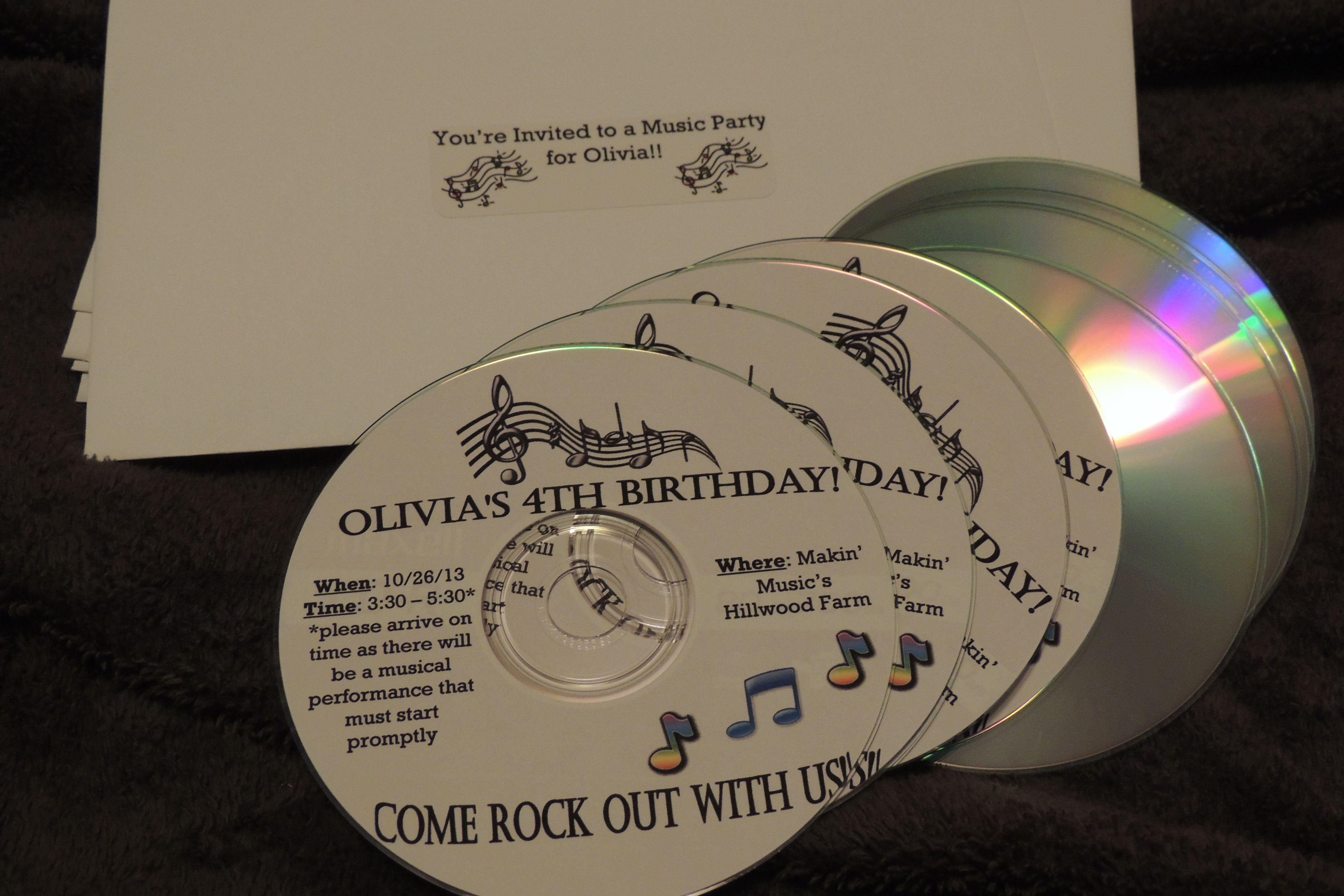 Music birthday party invitation Print using CD labelsbe creative