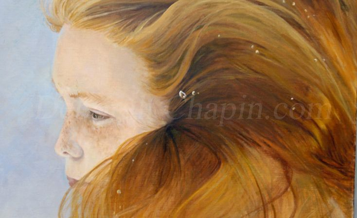 """3- New #Underwater #Portrait #Painting, """"Ethereal Moment"""" by Deborah Chapin, http://gallery.deborahchapin.com/portfolio/contemporary-realistic-art-water-portraits-ethereal/  #contemporaryart"""