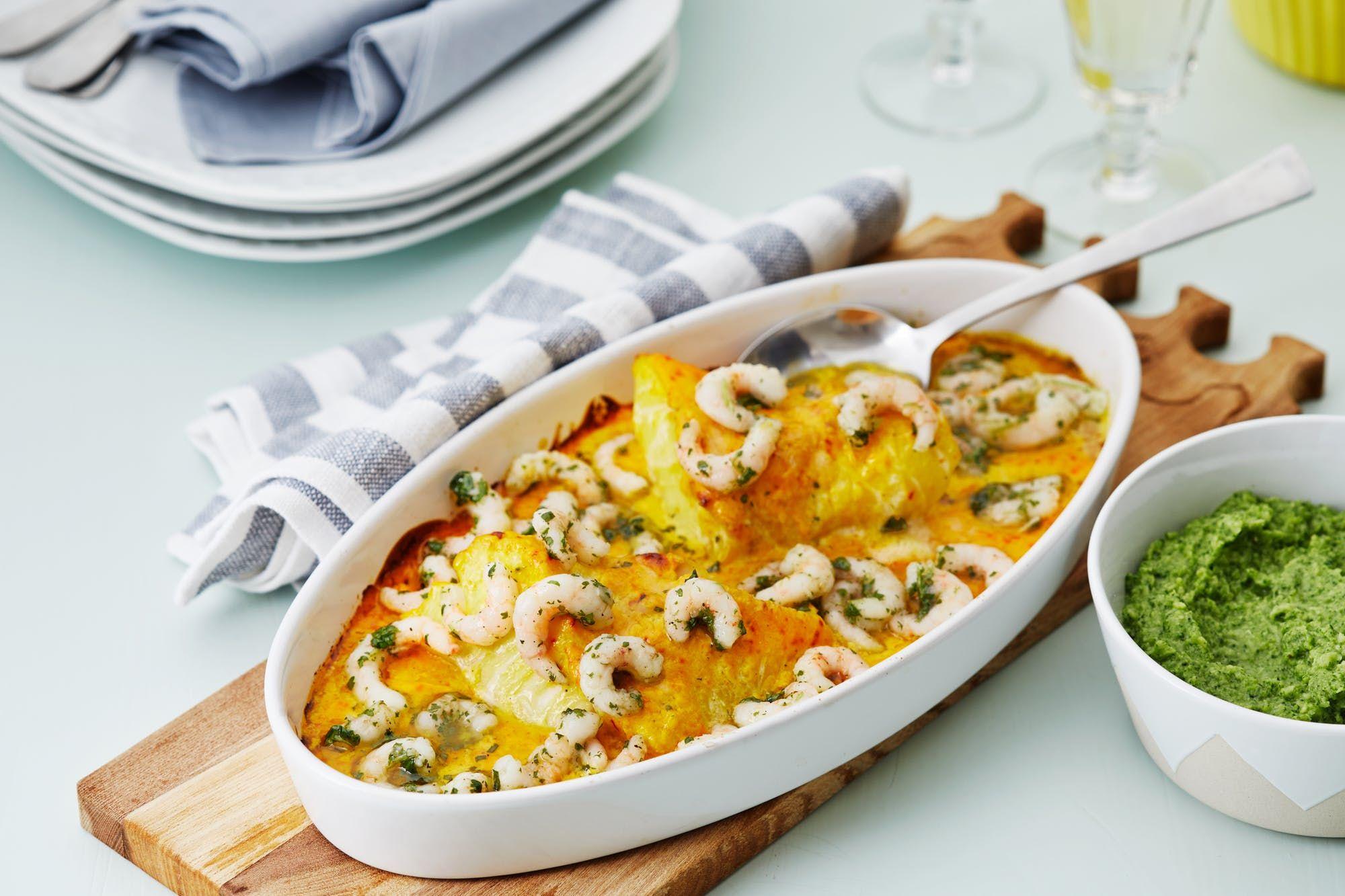 Creamy fish and shrimp casserole with saffron recipe