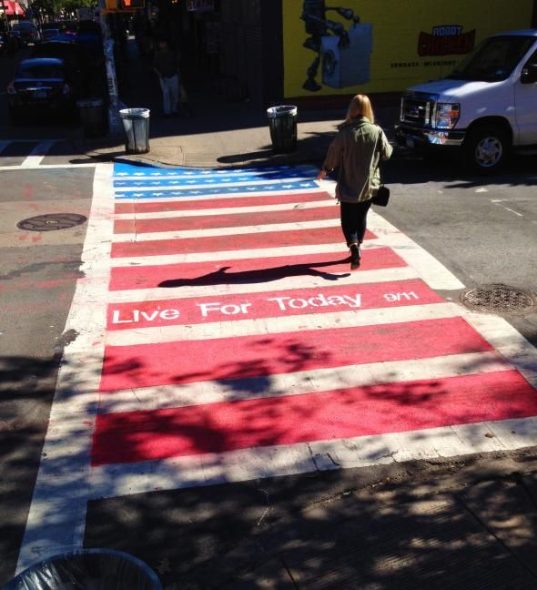 Patriotic American flag crosswalks in NYC on 9/11 | Ads of the World™