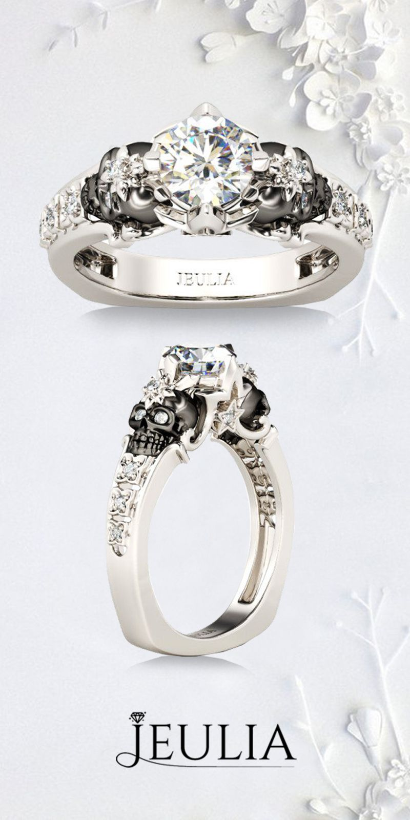 Jeulia Two Skull Floral & Star Design Round Cut Created White Sapphire Skull Ring. Show Your Exclusive Style! The Exclusive Two Tone Skull Ring From Jeulia. #Jeulia#Skull#Ring#Wedding#Engagement#Rings