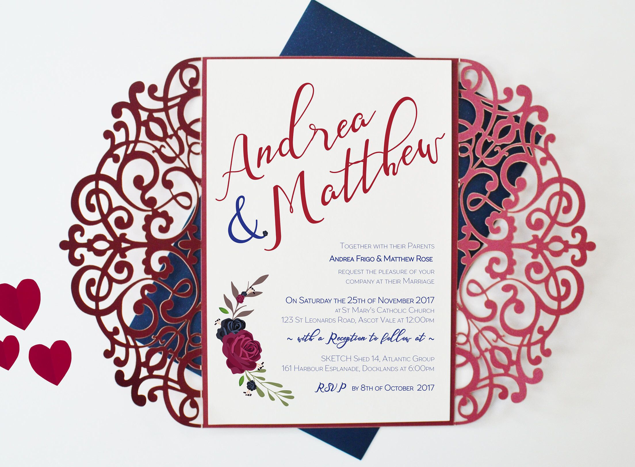 Burgundy Laser Cut Wedding Invitation, Marsala and Navy Wedding ...