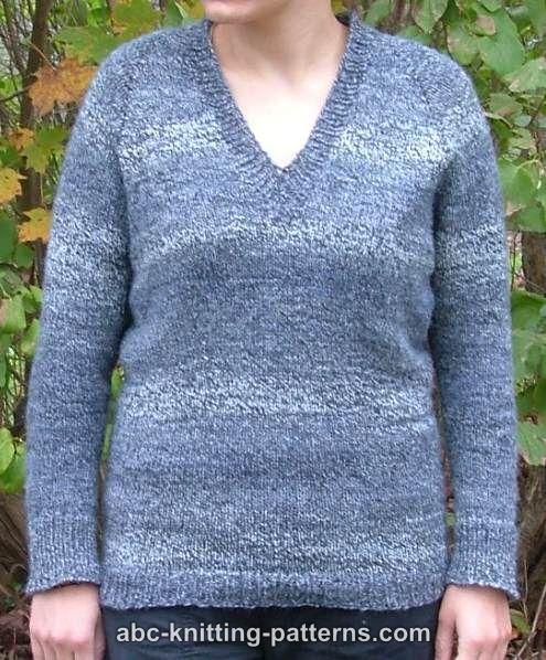Top Down V-Neck Raglan Sweater | Knitting patterns free ...