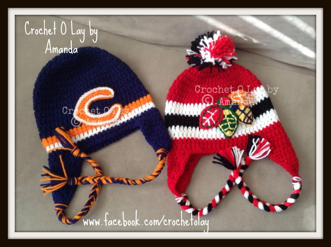 Chicago bears u chicago black hawks hats crochet o lay by amanda