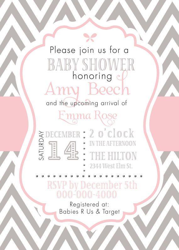 pink gray baby girl chevron invitation baby showers baby shower