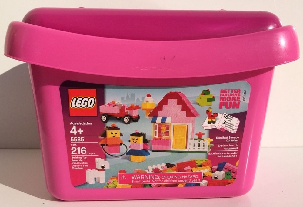 Lego Pink Brick Box #5585 2008 With Box And Instructions USED pieces uncounted #LEGO