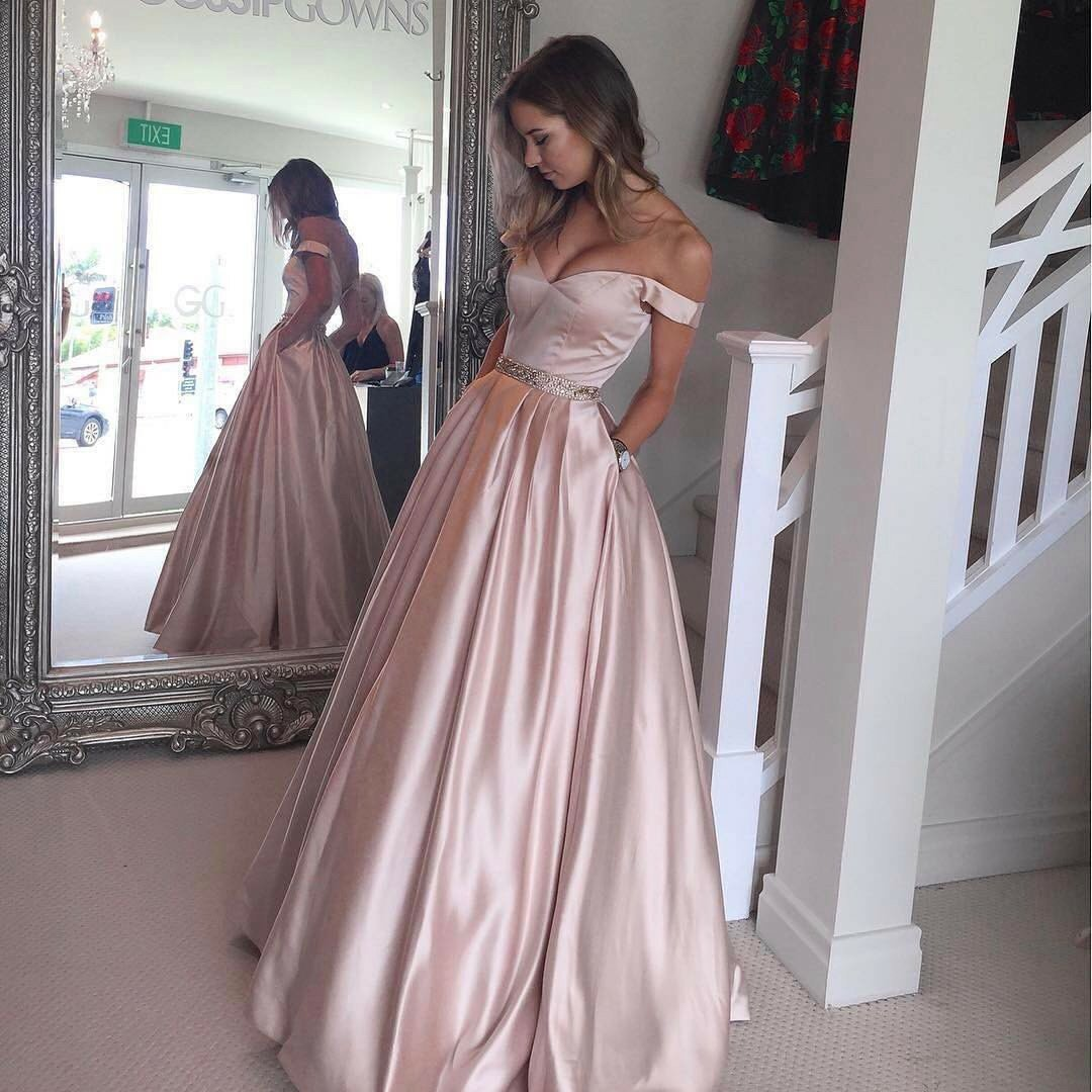 Aline off the shoulder satin with beaded cheap long prom dresses