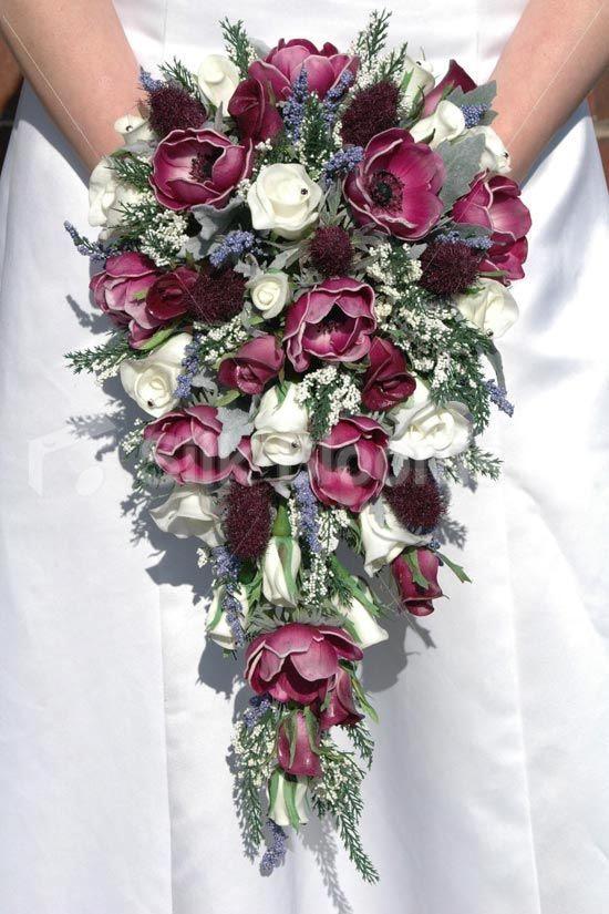 Plum Anemone Thistle Rose Cascading Bridal Wedding Bouquet Plum Anemone Thistle Rose C Bridal Bouquet Fall Flower Bouquet Wedding Wedding Bridal Bouquets