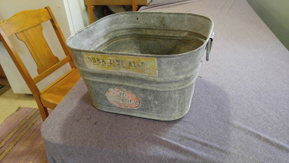Vintage Wheeling 6a Galvanized Wash Tub Pail Bucket Can Small 14 Inch With Label Naiveprimitive Wheeling 99 95 Galvanized Wash Tub Wash Tubs Pail Bucket