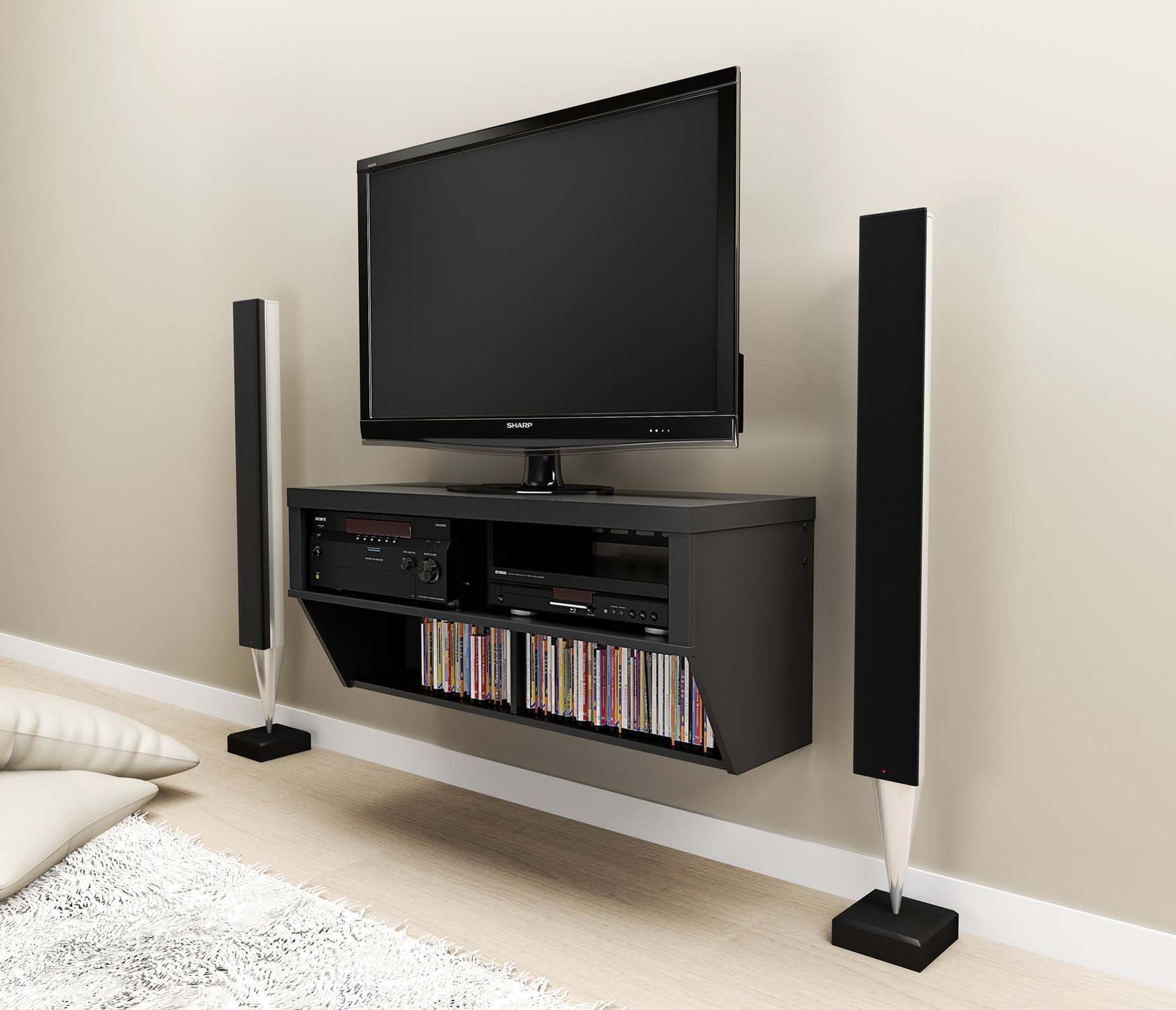 Furniture Interior Wall Mounted Black Painted Wooden Tv Cabinet With Dvd Storage Racks Shelves