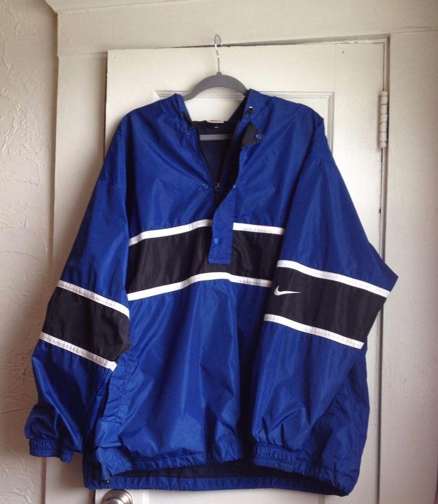 2eea81bf5a5a VINTAGE Blue   Black NIKE Windbreaker MEN S SIZE XXL Quarter Zip VTG 2XL   Nike  Windbreaker