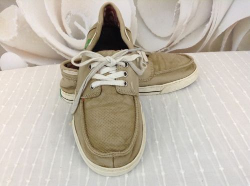 Sanuk Motorboat Tan Lace Up Boat Shoes Men\u0027s US Sz 7 Well Worn 21176 - boat bill of sale