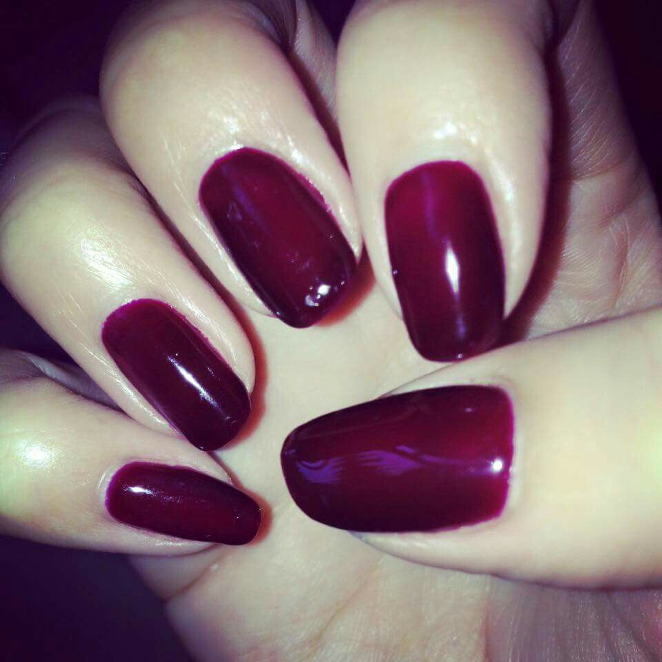 Dark red gel overlays nails | Gel Nails/Polish | Pinterest | Dark ...