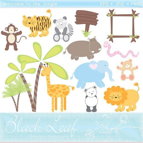Baby Jungle Animals Clipart Set Digital Download Images, Scrapbook ...